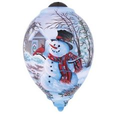 "6"" Ne'Qwa ""Snowman and Cardinal"" Hand-Painted Glass Christmas Ornament #7141111 This beautiful, hand-made glass ornament features a jolly snowman with a red cardinal perched on his stick arm and the back of the ornament has the artist's signature on it.  Artist - Dona Gelsinger"