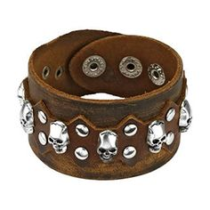 Brown Leather Bracelet with Multi Skulls and Round Studs ...