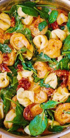 Tortellini Recipes, Cheese Tortellini, Seafood Pasta, Shrimp Recipes, Fish And Seafood, Fish Recipes, Tortellini Alfredo, Recipies, Recipes