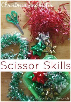 Simple Christmas themed scissor skills activity for cutting practice and fine motor play! Use fun Christmas items to practice scissor skills.