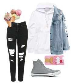 """""""Ice-cream <3"""" by lovableln on Polyvore featuring Billabong, Topshop, Converse, Kate Spade and Iphoria"""