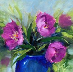 Spring Fever Pink Tulips, 14X14, oil www.nancymedina.com