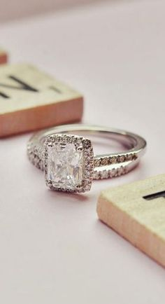 Fancy Halo Diamond- Ring with Side Stones