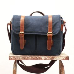 Gouache Waxed Canvas Camera Bag Navy Blue by QamaySF on Etsy Waxed Canvas Bag, Canvas Leather, Photography Bags, Camera Straps, Camera Accessories, Gouache, Body Bag, Messenger Bag, Shoulder Strap