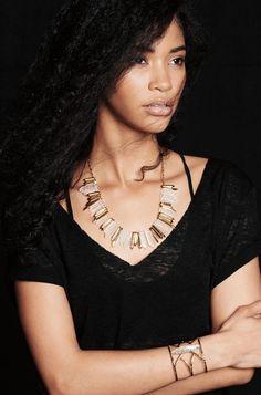 Collier Rebelle en quartz. Gold Rebel Stone Statement Necklace   Stella & Dot
