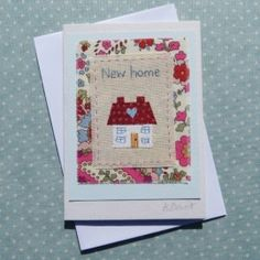 New Home - Helen Drewett Embroideries Fabric Cards, Fabric Postcards, Paper Cards, Diy Cards, Embroidery Cards, Free Motion Embroidery, Machine Embroidery, Box Frame Art, New Home Cards