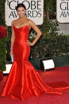 Eva Longoria Dress Satin Mermaid Red Carpet Formal Evening Golden Globe
