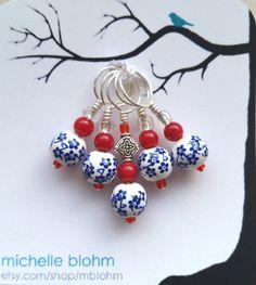 Delft Blue & Red Glass Bead Knitting Stitch Marker Set