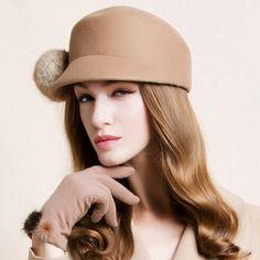 Rabbit fur ball bowler wool hat for women trilby winter caps