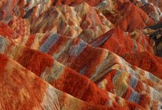 Danxia Landform in the mountainous areas of the Zhangye Geology Park near the city of Zhangye in northwest China's Gansu Province.