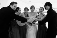 A bridal party in Buffalo has fun at the Brierwood bowling alley in Buffalo, NY