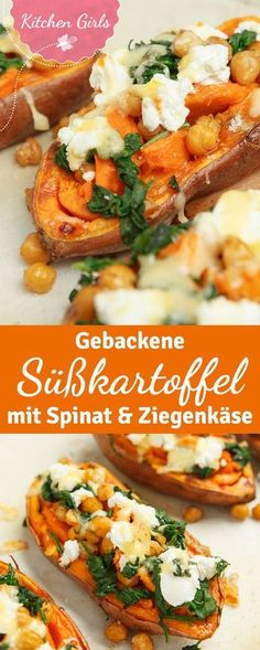 Rezept für gebackene Süßkartoffeln mit Ziegenkäse und Spinat A healthy main course from the oven: baked sweet potatoes filled with spinach and goat cheese. If you vary the topping ingredients a little Healthy Food Recipes, Veggie Recipes, Cooking Recipes, Budget Cooking, Paleo Food, Sandwich Recipes, Pizza Recipes, Food Budget, Snacks Recipes