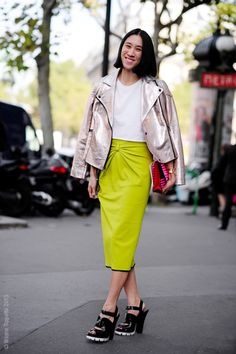 Eva Chen cool in neon and metallic | Wayne Tippetts
