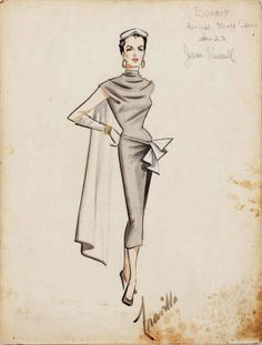 Jane Russell costume design sketch from Gentlemen Marry Brunettes. (UA, Jane Russell costume design sketch from Gentlemen Marry Brunettes. Illustration Mode, Fashion Illustration Sketches, Fashion Sketches, Fashion Drawings, Drawing Sketches, Drawing Ideas, Vintage Outfits, Vintage Dresses, Look Fashion