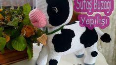 Sütaş buzağı yapılışı | Elişi Deryası Creations Baby Knitting Patterns, Crochet Patterns, Plastic Baskets, Making Out, Origami, Dinosaur Stuffed Animal, Crochet Hats, Snoopy, Toys