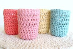 Glass Cozy Set - Can Cozy Set - Mason Jar Cozies - Candle Cozies - Crochet Cozies. via Etsy.
