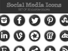 Social Media Icons -- Chalkboard Set -- Great for blogs, portfolios, and websites! 30 customizable icons