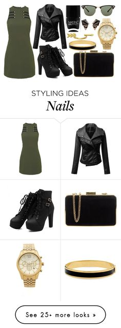 """""""Military style"""" by brooky338 on Polyvore featuring Rare London, MICHAEL Michael Kors, Halcyon Days, Michael Kors, Gorjana, Nails Inc., Ray-Ban and Nak Armstrong"""