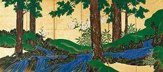 suzuki kiitsu 鈴木其一 . ca.1840. Mountain Stream in Summer and Autumn. Japanese folding screen. 夏秋渓流図鈴木其一 夏秋渓流図屏風 右