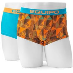 Men's equipo 2-pack Patterned Microfiber Brazilian Trunks ($19) ❤ liked on Polyvore featuring men's fashion, men's clothing, men's underwear, blue, mens trunks and mens swim trunks