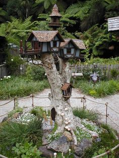 Awesome set of birdhouses built on a tall tree stump