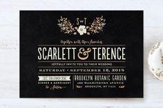 """Jardin Nocturne"" - Wedding Invitation Petite Cards in Ink by Bonjour Paper."