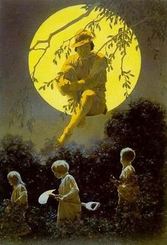 """""""The Man in the Moon"""" by Maxfield Parrish (American: 1870 – 1966)"""