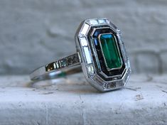 Platinum Art Deco Vintage Natural Emerald, Onyx and Diamond Engagement Ring - 2.62ct. by GoldAdore on Etsy https://www.etsy.com/uk/listing/577906945/platinum-art-deco-vintage-natural