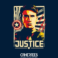 """""""Justice"""" by TomTrager on sale until 29th August on othertees.com Pin it for a chance at a FREE TEE! #captainamerica #marvel #marvelcomics #comics #wintersoldier #avengers #firstavenger #othertees #chrisevans #avenger #thefirstavenger"""