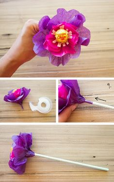 Valentines Day is just around the corner so I thought I would share a little DIY project that you can make for your loved ones. Diy Valentine's Flowers, Paper Flowers, Lollipop Bouquet, Candy Bouquet, Gift Bouquet, Valentines Flowers, Valentine Day Crafts, Valentine Nails, Valentine Ideas