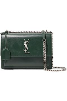 Dark-green textured-leather (Calf) Snap-fastening front flap Designer color: Dark Leaf Weighs approximately 2.2lbs/ 1kg Made in Italy