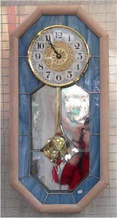 pendulum clock with diamond bevel center. Clocks by sandradavis3