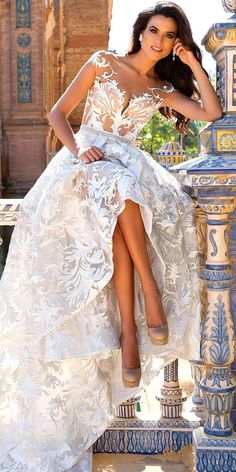 21 Gorgeous Tattoo Effect Wedding Dresses ❤ See more: http://www.weddingforward.com/tattoo-effect-wedding-dresses/ #wedding #dresses