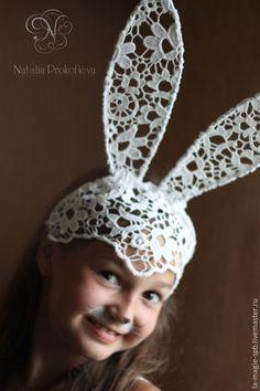 Купить Кружевные ушки зайчика - белый, зайка, ушки на ободке, ушки, кружево, аксессуар для фотосессий