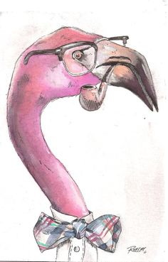 Flamingo 8x10 by RobertBobbyArt on Etsy, $20.00