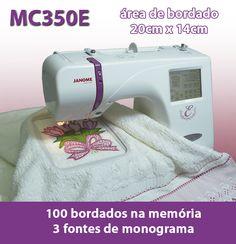 Máquina de Costura e Máquina de Bordar – Janome – MC350E – 100 bordados e 3 fontes de letra