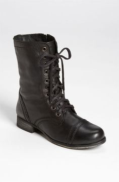 $79, Black Leather Boots: Steve Madden Troopa Boot. Sold by Nordstrom. Click for more info: https://lookastic.com/women/shop_items/139483/redirect