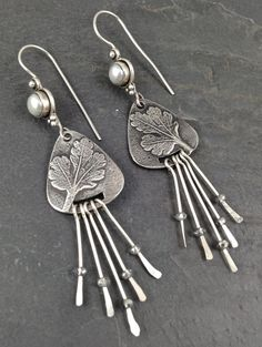 OOAK Fine Silver metal clay dangle earrings