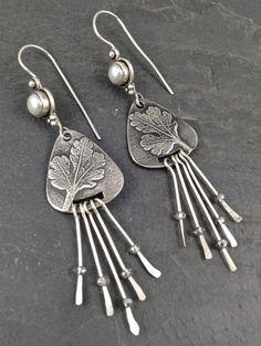 OOAK Fine Silver metal clay dangle earrings