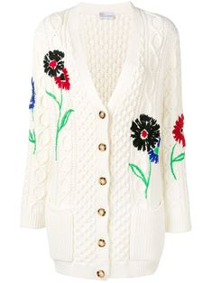 Red Valentino Redvalentino Embroidered Floral Cable Knit Cardigan In Avorio Cable Knit Cardigan, White Cardigan, Cotton Cardigan, Bordado Floral, Sweater Design, A Boutique, Floral Embroidery, Wool Blend, Knitwear