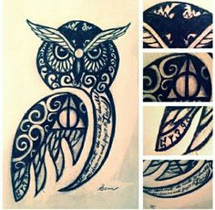 Harry Potter Tattoo -- love the owl, but don't like Harry potter references.:.