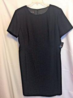 J. G. Hook Black Dress Size 16 Sheath Lined Deep Scoop Neck Back Zip Short Wool #JGHook #Sheath #WeartoWork