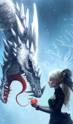 Ice Dragon and a woman - Snow and Ice: Stepping Over Magical Creatures, Fantasy Creatures, Best Wallpaper Iphone, Iphone Wallpapers, Mobile Wallpaper, Fantasy World, Dark Fantasy, Elfen Fantasy, Dragon's Lair