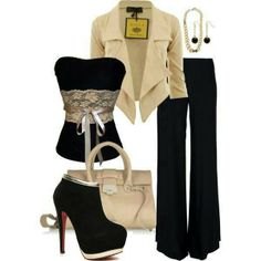 Black shoes pants n strapples top
