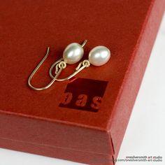 Pure 14k Gold Petite Dainty Cute Light Weight Pearl Dangle Earrings Hook Earwire #oas #DropDangle