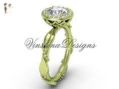 14kt yellow gold diamond leaf and vine engagement ring VF301022 - Wedding and engagement rings (*Amazon Partner-Link)