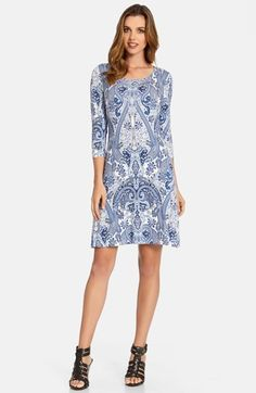 Free shipping and returns on Karen Kane Paisley Jersey Shift Dress at Nordstrom.com. An comfortable as a T-shirt, a soft jersey dress cut with a scoop neckline and three-quarter sleeves boasts an exotic paisley print in pretty china-blue tones.