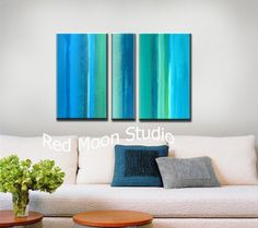 Abstract Art Turquoise Painting Blue Abstract by RedMoonStudioArt