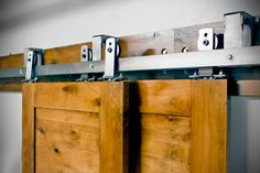 Rustica Hardware Barn Door Hardware Bi Passing Track System. Use this Bi Passing Sliding Door Hardware to allow for up to 3 doors to slide in front of and in back of each other to conserve space. Use our Bi Passing system to take advantage of limited spaces.