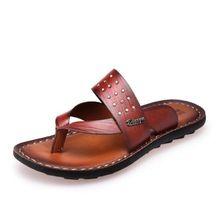 Nuevo 2016 moda hombre cuero genuino de las sandalias masculinas zapatillas Flip flop antideslizantes aligerar de gama alta de zapatos de verano de calidad 1.4(China (Mainland))